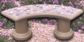 Tiled Curved Concrete Landscape Benches