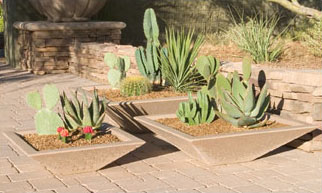 Oblique Low Profile Concrete Landscape Planters