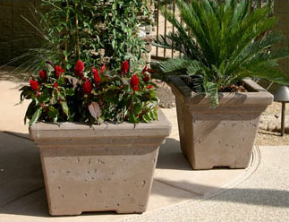 Roma Style Tall Outdoor Concrete Planters