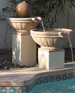 Tuscany Style Outdoor Concrete Scupper Bowls