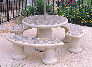 Tiled Round Concrete Landscape Tables