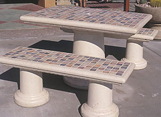 Tiled Rectangular Outdoor Concrete Tables
